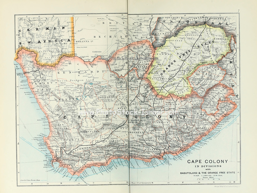 Ancient map of Cape Colony in Divisions with Basutoland and the Orange Free State (1895) from the book 'The Castle Line atlas of South Africa' : a series of 16 plates, printed in colour, containing 30 maps and diagrams, with an account of the geographical features , the climate, the mineral and other resources, and the history of South Africa. And an index of over 6,000 names
