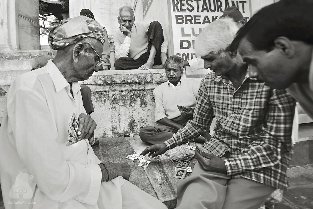 Men playing cards, Udaipur, Rajasthan, India.