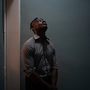 Dami Babade, a 22-year old Nigerian living in Ireland for nearly two decades, poses for a portrait in one of the floors of the building housing his digital media agency in central Dublin, Ireland, on July 17, 2020. Last month, while on their way home from the gym, he and a female Chinese friend were attacked by a group of men and women in Dublin. CREDIT: Paulo Nunes dos Santos for The Wall Street Journal<br /> <br /> IRELANDBLM
