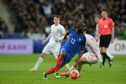 29.03.2016, Stade de France, St. Denis, FRA, Testspiel, Frankreich vs Russland, im Bild diarra lassana, dzagoev alan - cache - // during the International Friendly Football Match between France and Russia at the Stade de France in St. Denis, France on 2016/03/29. EXPA Pictures © 2016, PhotoCredit: EXPA/ Pressesports/ Jerome Prevost<br /> <br /> *****ATTENTION - for AUT, SLO, CRO, SRB, BIH, MAZ, POL only*****