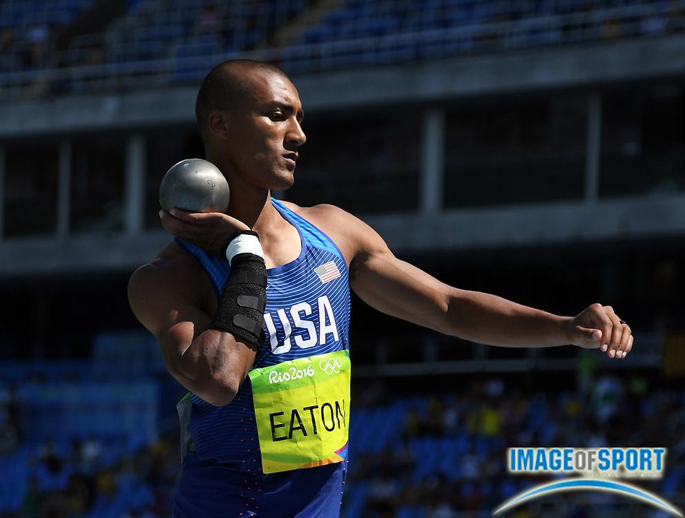 Aug 17, 2016; Rio de Janeiro, Brazil; Ashton Eaton (USA) during the men's decathlon shot put in the Rio 2016 Summer Olympic Games at Estadio Olimpico Joao Havelange.