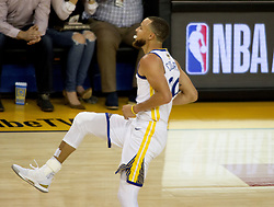 May 31, 2018 - Oakland, California, U.S - Stephen Curry #30 of the Golden State Warriors celebrates  during  their NBA Championship Game 1 with the Cleveland  Cavaliers at Oracle Arena in Oakland, California on  Thursday,  May 31, 2018. (Credit Image: © Prensa Internacional via ZUMA Wire)