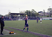 Defender and Dulwich Hamlet captain Mark Weatherstone. Dulwich Hamlet V Margate for the last game of the season at DHFC temporary ground at Imperial Fields on 28th April 2018 in Mitcham, South London in the United Kingdom. Dulwich Hamlet was founded in 1893 and both teams play in the Isthmian League Premier Division, a regional mens football league covering London, East and South East England.