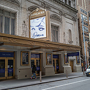 The Longacre Theater remains closed during the holiday season with Coronavirus (Covid-19) outbreak in Manhattan, New York on Tuesday, December 8, 2020. (Alex Menendez via AP)