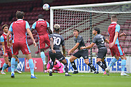 Olufela Olomola (24) of Scunthorpe United misses a chance to score during the Pre-Season Friendly match between Scunthorpe United and Doncaster Rovers at Glanford Park, Scunthorpe, England on 15 August 2020.