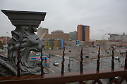 A gargoyle on the top level of Gertrude Zacharys house overlooks downtown Albuquerque New Mexico...((NOTE TO EDITORS: Technically, this is considered a grotesque, as it is a sculpture that does not function as a waterspout and only serves an ornamental function))..CREDIT: Steven St. John for The Wall Street Journal
