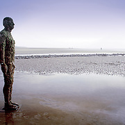 Statue Crosby Beach Antony Gormley, Liverpool, England (October 2006)