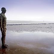 Statue Crosby Beach Antony Gormley, Liverpool, England (October 2006)
