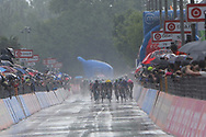 Thunderstorms welcome the riders to the finish line during stage 17 of the Giro D'Italia, Iseo Italy on 23 May 2018. Picture by Graham Holt.