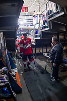 KAMLOOPS, CANADA - NOVEMBER 5:  Team WHL exits the ice against the Team Russia on November 5, 2018 at Sandman Centre in Kamloops, British Columbia, Canada.  (Photo by Marissa Baecker/Shoot the Breeze)