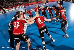 Players of Krim celebrate at handball match of Round 3 of Champions League between RK Krim Mercator and Hypo Niederosterreich, on November 8, 2009, in Arena Kodeljevo, Ljubljana, Slovenia.  Krim won 35:24. (Photo by Vid Ponikvar / Sportida)