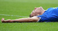 Portsmouth's Jed Wallace shows his dejection at missing a change<br /> <br /> Photographer Kevin Barnes/CameraSport<br /> <br /> Football - The Football League Sky Bet League Two - Portsmouth v Newport County AFC - Saturday 30th August 2014 - Fratton Park - Portsmouth<br /> <br /> © CameraSport - 43 Linden Ave. Countesthorpe. Leicester. England. LE8 5PG - Tel: +44 (0) 116 277 4147 - admin@camerasport.com - www.camerasport.com