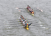 London, Great Britain.<br /> 109 HSBC, being passed by  111 Cambois, cox signing for HSBC to move over,<br /> competing in the <br /> 2016 Head of the River Race, Reverse Championship Course Mortlake to Putney. River Thames. Saturday  19/03/2016<br /> <br /> [Mandatory Credit: Peter SPURRIER;Intersport images]