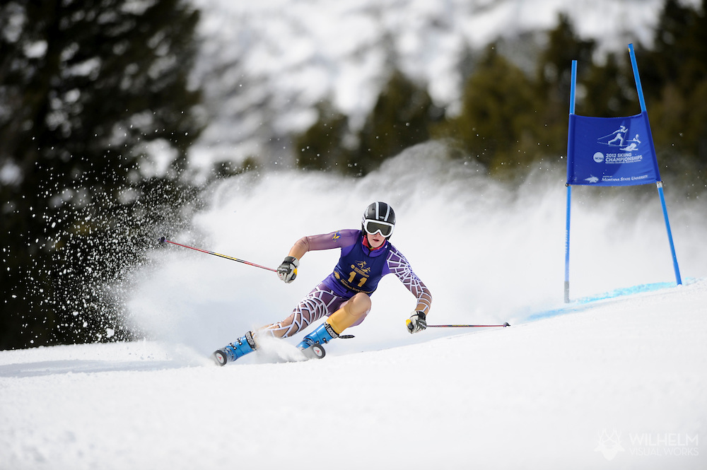 07 MAR 2012: Geordie Lonza of Williams College during Women's Giant Slalom Alpine event at the NCAA Division I Men and Women's Ski Championship held at Bohart Ranch hosted by Montana State University in Bozeman, MT. Lonza placed 3rd in the event. © Brett Wilhelm