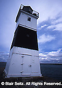 Close-up of lighthouse in Presque Isle State Park, Erie Co., PA