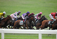Horse Racing - 2021 Epsom Festival - The  Oaks Friday - Epsom Downs <br /> <br /> Winner, Snowfall (Frankie Dettori) (Purple cap) comes from the back of the field at Tattenham corner<br /> <br /> <br /> Credit : COLORSPORT/ANDREW COWIE