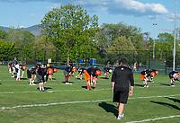 KELOWNA, BC - MAY 10:  Prospective players attend the BCFC Okanagan Sun Spring Training camp at the Apple Bowl on May 10, 2019 in Kelowna, Canada. (Photo by Marissa Baecker/Shoot the Breeze)