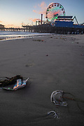 Trash washed up on beach, Santa Monica, California, USA