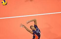 20150619 NED: World League Nederland - Portugal, Groningen<br /> De Nederlandse volleyballers hebben in de World League ook hun eerste duel met Portugal met 3-0 gewonnen / Nimir Abdelaziz #1