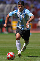 """Fotball<br /> OL 2008 Beijing<br /> Finale<br /> Argentina v Nigeria 1-0<br /> Foto: Inside/Digitalsport<br /> NORWAY ONLY<br /> <br /> Sergio """"Kun"""" Aguero during the Olympic Games final. Argentina beats Nigeria 1-0 and won the gold medal"""