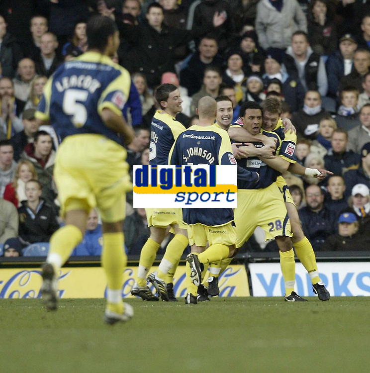 Photo: Aidan Ellis.<br /> Leeds United v Derby County. Coca Cola Championship. 09/12/2006.<br /> derby's first goal scorer Giles Barnes is mobbed by team mates after scoring