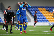 AFC Wimbledon striker Joe Pigott (39) with head in hands during the EFL Sky Bet League 1 match between AFC Wimbledon and Lincoln City at Plough Lane, London, United Kingdom on 2 January 2021.