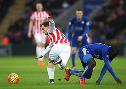 Xherdan Shaqiri of Stoke City (L) and Ngolo Kante of Leicester City in action - Mandatory byline: Jack Phillips/JMP - 23/01/2016 - FOOTBALL - King Power Stadium - Leicester, England - Leicester City v Stoke City - Barclays Premier League