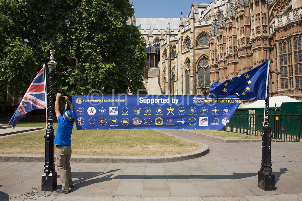 Steve Bray from Stand of Defiance European Movement SODEM outside Houses of Parliament on the 28th June 2018 in London in the United Kingdom.