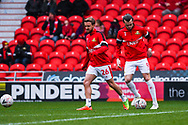 James Coppinger of Doncaster Rovers (26) and John Marquis of Doncaster Rovers (9) warming up during the The FA Cup fourth round match between Doncaster Rovers and Oldham Athletic at the Keepmoat Stadium, Doncaster, England on 26 January 2019.