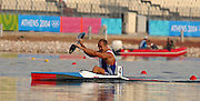 20040827 Olympic Games Athens Greece .[Canoe/Kakak Flatwater Racing] .Lake Schinias - Firday Finals day.GBR KI Tim Brabant's comes in fifth, in the men's Olympic K1  1000m final.. .Photo  Peter Spurrier.email images@intersport-images.com...