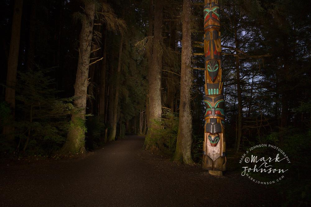 Night time in Totem Park, Sitka National Historic Park, Sitka, Alaska, USA