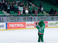 Official mascot of HDD Tilia Olimpija dragon Hoki greets fans during ice-hockey match between HDD Tilia Olimpija and EHC Liwest Black Wings Linz in 37th Round of EBEL league, on Januar 9, 2011 at Hala Tivoli, Ljubljana, Slovenia. (Photo By Matic Klansek Velej / Sportida.com)
