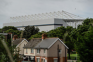 Cardiff City Stadium in the sky line above the houses of Cardiff prior to the Cardiff City vs Leeds United EFL Championship match at the Cardiff City Stadium, Cardiff, Wales on 21 June 2020.