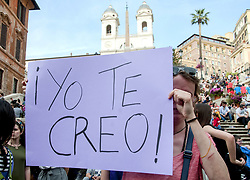 April 27, 2018 - Rome, Italy, Italy - Rome, Piazza di Spagna. Spanish women are protesting in Rome against the sentence that acquitted five men in Spain from sexual assault in Spain, who raped an eighteen-year-old girl in Pamplona in June 2016. For the judges of the court of Pamplona it was only ''abuse'' and not sexual violence. A wave of indignation arose in Spain after the ruling and feminist marches have crossed the streets of hundreds of cities in the country. (Credit Image: © Patrizia Cortellessa/Pacific Press via ZUMA Wire)