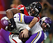 Atlanta Falcons Takkarist McKinley sacks Minnesota Vikings QB Case Keenum.