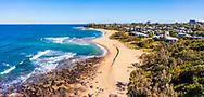Panoramic aerial view of Shelly Beach, Caloundra, Sunshine Coast, Queensland, Australia