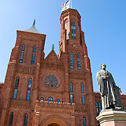 Statue of James Smithson in front of the Smithsonian Castle on the National Mall, Washington DC.
