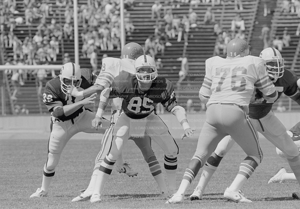 COLLEGE FOOTBALL: Stanford v San Jose State, September 15, 1979 at Stanford Stadium in Palo Alto, California. Pat Bowe #85.  Photography by David Madison | www.davidmadison.com.