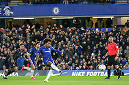 GOAL - Chelsea Midfielder Willian shoots from the penalty spot and scores 1-0 during the The FA Cup fourth round match between Chelsea and Sheffield Wednesday at Stamford Bridge, London, England on 27 January 2019.
