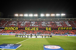 "15-03-2016 ESP, UEFA CL, Atletico Madrid - PSV Eindhoven, Madrid<br /> Fans of Atletico de Madrid create a mosaic under the slogan ""Nunca dejes de creer"" // during the UEFA Champions League Round of 16, 2nd Leg match between Atletico Madrid and PSV Eindhoven at the Estadio Vicente Calderon in Madrid, Spain on 2016/03/15. <br /> <br /> ***NETHERLANDS ONLY***"