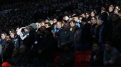 05 November 2017 Wembley : Premier League Football : Tottenham Hotspur v Crystal Palace : Tottenham fans in a shaft of light at Wembley.<br /> <br /> Photo: Mark Leech.