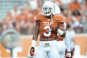 AUSTIN, TX - AUGUST 31: Jordan Hicks #3 of the Texas Longhorns looks on against the New Mexico State Aggies on August 31, 2013 at Darrell K Royal-Texas Memorial Stadium in Austin, Texas.  (Photo by Cooper Neill/Getty Images) *** Local Caption *** Jordan Hicks