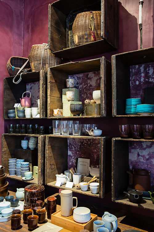 Teapots, kettles, and cups for sale at Bellocq Tea Atelier.