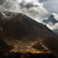 the Walking Wounded group set off from Phortse on the way to summit Everest in Nepal. PRESS ASSOCIATION Photograph David Cheskin