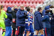 Reading Head Coach Kelly Chambers celebrates with the team at the final whistle during the FA Women's Super League match between Manchester United Women and Reading LFC at Leigh Sports Village, Leigh, United Kingdom on 7 February 2021.