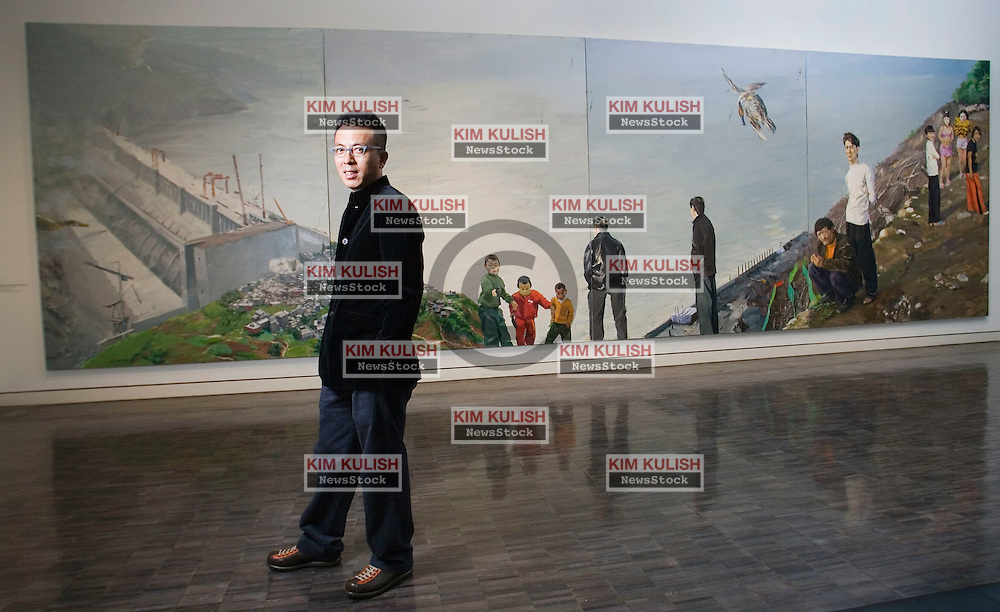 Artist Liu Xiaodong has created  9 foot by 300 foot paintings  about China's controversial Three Gorges Dam, now on display at the Asian Art Museum in San Francisco, CA. ..Photo by Kim Kulish