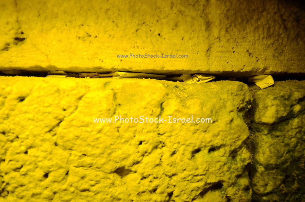 Israel, Jerusalem, Old City,The Western Wall Tunnels notes and prayers placed in the cracks between the stones