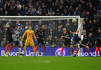 Football - 2019 / 2020 Premier League - Brighton & Hove Albion vs. Chelsea<br /> <br /> Alireza Jahanbakhsh of Brighton scores the winning goal with a spectacular overhead kick, at The Amex.<br /> <br /> COLORSPORT/ANDREW COWIE