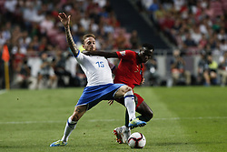September 10, 2018 - Lisbon, Portugal - Manuel Lazzari of Italy and Spal 2013  (L) vies for the ball with Bruma of Portugal and RB Leipzig  (R)  during the UEFA Nations League A group football match between Portugal and Italy, in Lisbon, on September 10, 2018. (Credit Image: © Carlos Palma/NurPhoto/ZUMA Press)