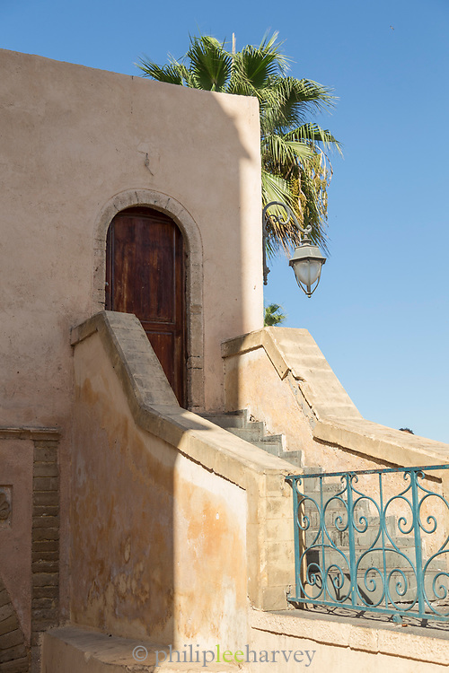 Architectural detail with stairs and door in Casablanca, Morocco